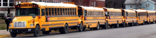 line-of-school-buses