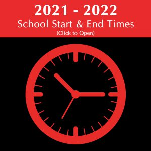 Image with clock and school start times linking to pdf