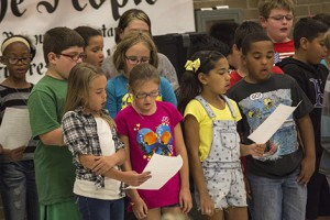 Logan Avenue students present a reader's theater during the Constitution Day assembly Thursday.